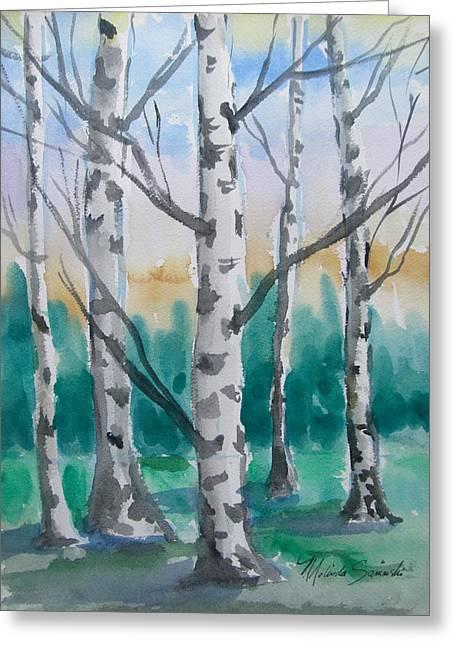 Birch Trees Greeting Card by Melinda Saminski
