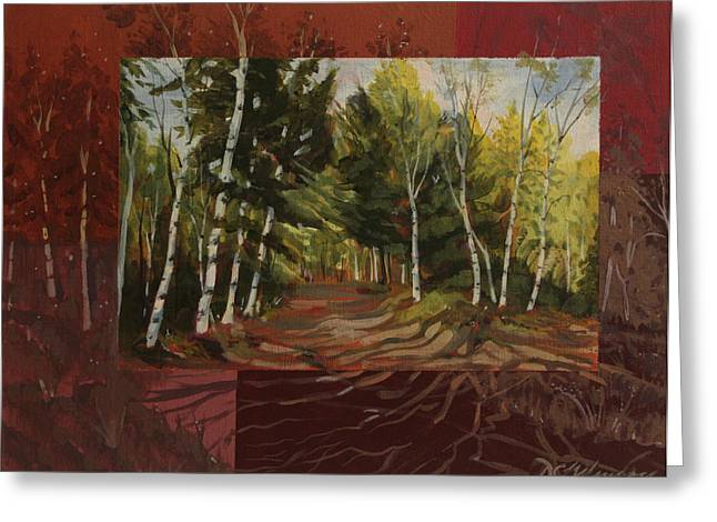 Birches Along The Lane Greeting Card