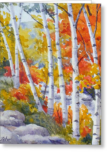 Birches Along The River Greeting Card