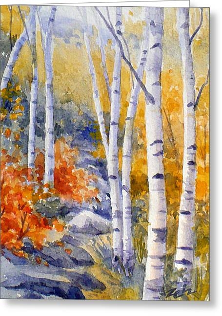 Birches Along The Trail Greeting Card by Janet  Zeh