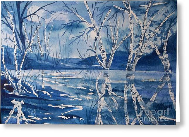 Birches In Blue Greeting Card by Ellen Levinson