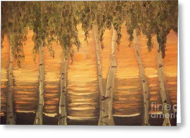 Greeting Card featuring the painting Birches In The Sun by Holly Martinson