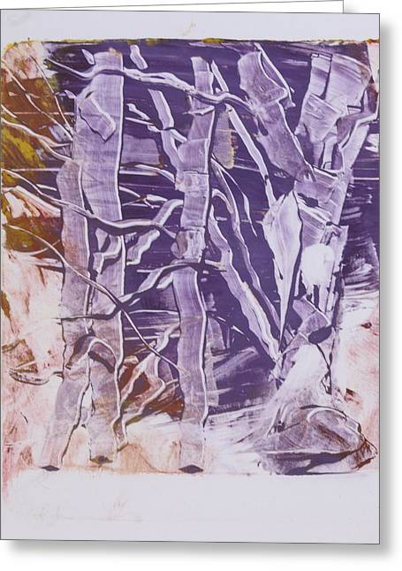 Birches In Winter Greeting Card by Claudia Smaletz