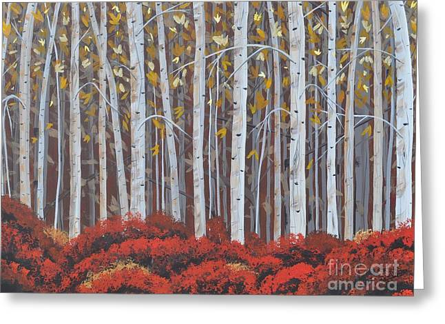 Birches Greeting Card by Sally Rice
