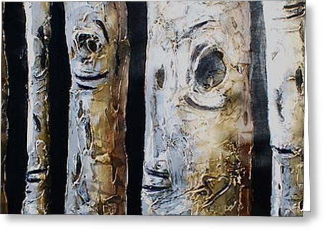 Birches Standing Before You Greeting Card by Lori McPhee