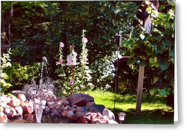 Bird And Butterfly Paradise Greeting Card by Liz Evensen