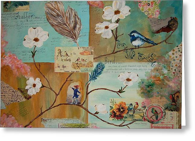 Bird And Feather Greeting Card
