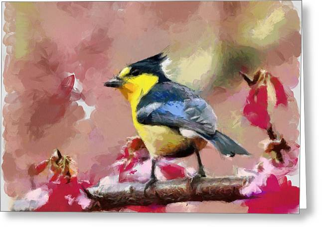 Bird And Flover Greeting Card by Georgi Dimitrov