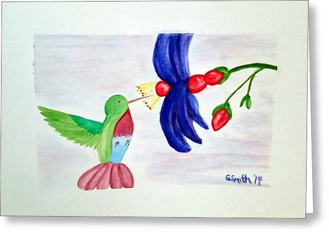 Bird And Flower Greeting Card