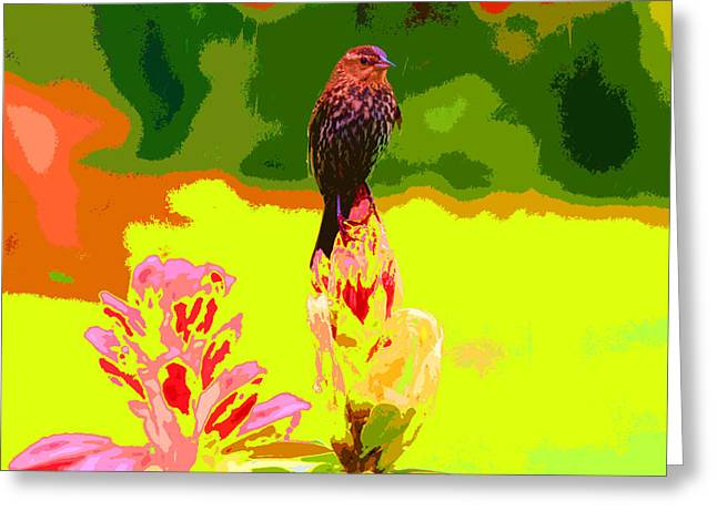Bird And Rhodie Greeting Card