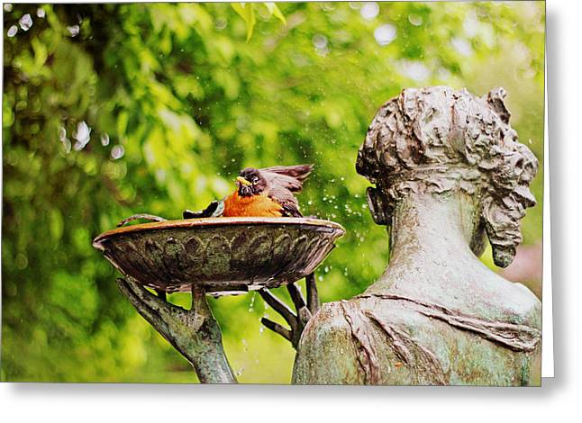 Bird Bath Fountain Greeting Card by Jessica Jenney