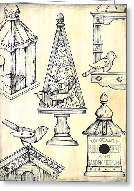 Bird Boxes Greeting Card