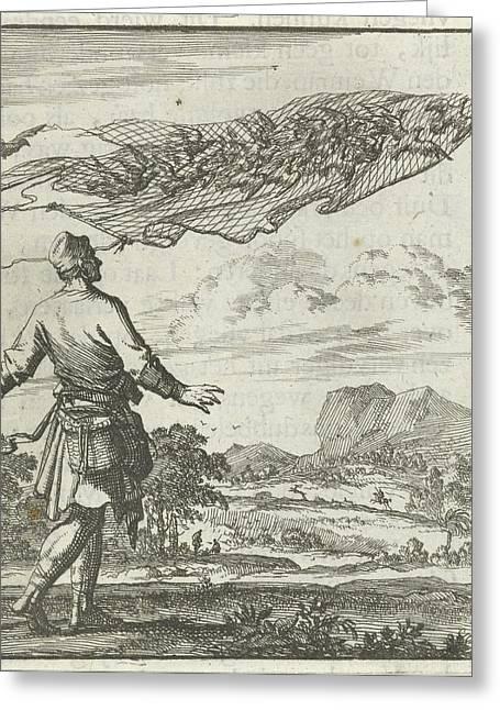 Bird Catchers, Bird Netting, Pigeons, Jan Luyken Greeting Card by Jan Luyken And Aart Wolsgrein