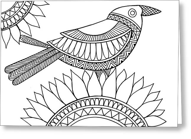Bird Crow Greeting Card by Neeti Goswami