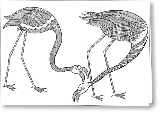 Bird Flamingos 2 Greeting Card by Neeti Goswami