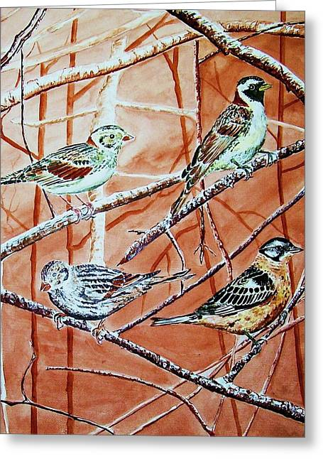 Bird Foursome Greeting Card by Linda Vaughon