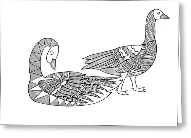 Bird Goose Geese Greeting Card by Neeti Goswami