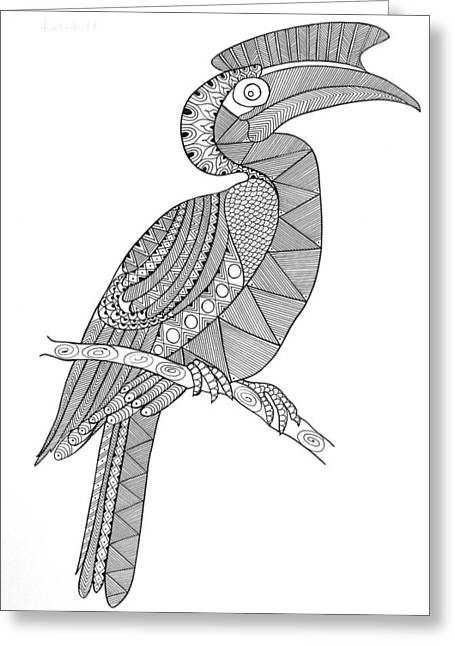 Bird Hornbill Greeting Card by Neeti Goswami