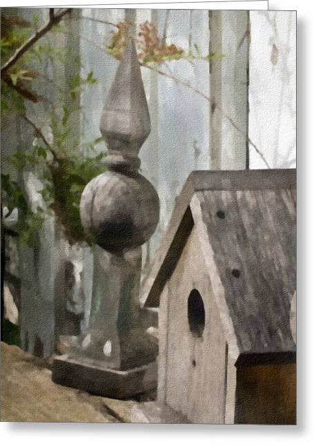 Bird House Garden Art Greeting Card by Sandra Foster