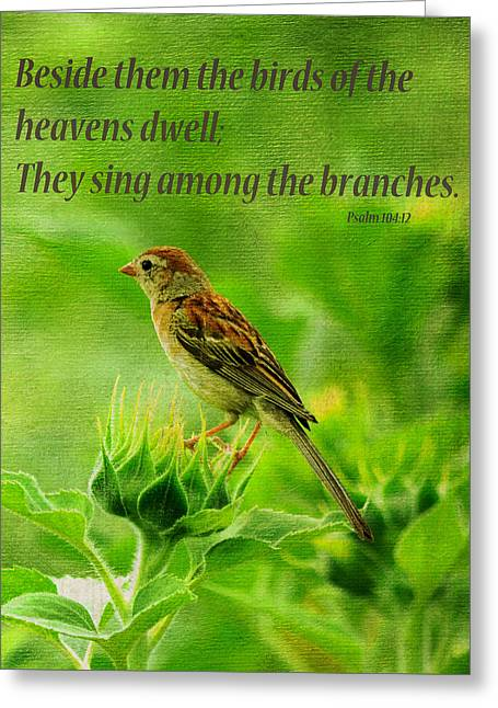 Bird In A Sunflower Field Scripture Greeting Card by Sandi OReilly