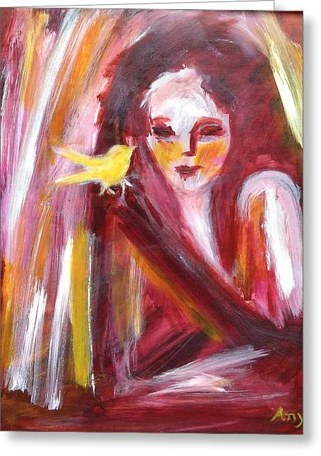 Greeting Card featuring the painting Bird In Hand by Anya Heller