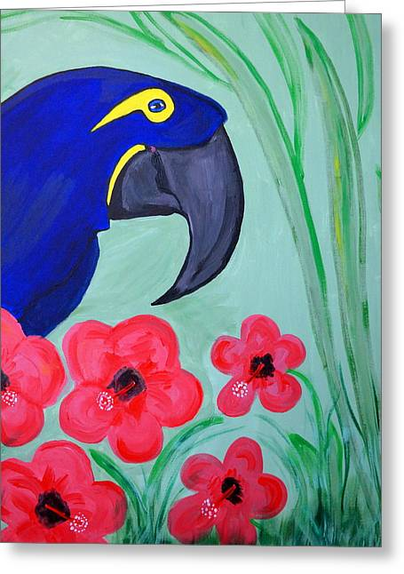 Greeting Card featuring the painting Bird In Paradise   by Nora Shepley