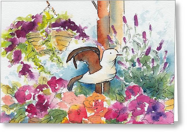 Bird In The Begonias Greeting Card by Pat Katz