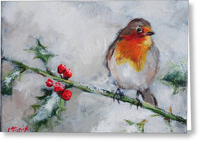 Bird In The Winter Snow Greeting Card by Carole Foret