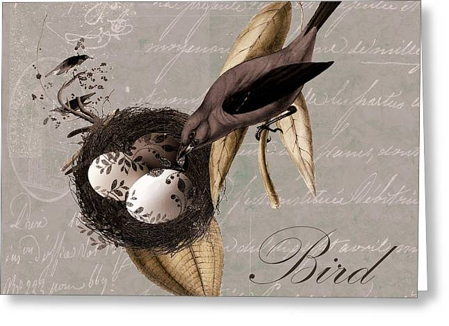 Bird Nest - 02v23c2b Greeting Card by Variance Collections