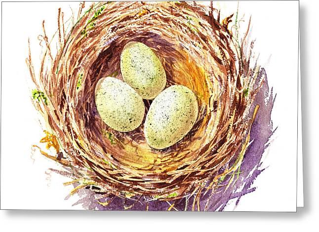 Bird Nest A Happy Trio Greeting Card by Irina Sztukowski