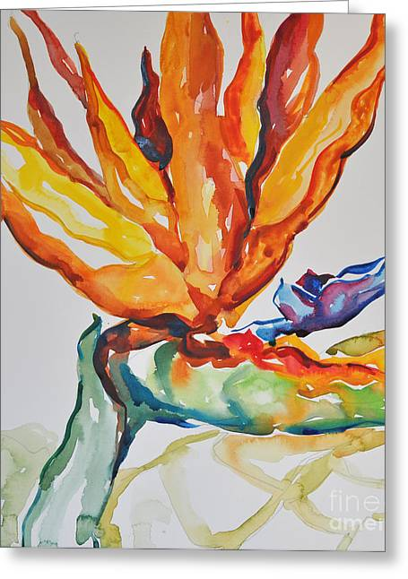 Greeting Card featuring the painting Bird Of Paradise by Roger Parent