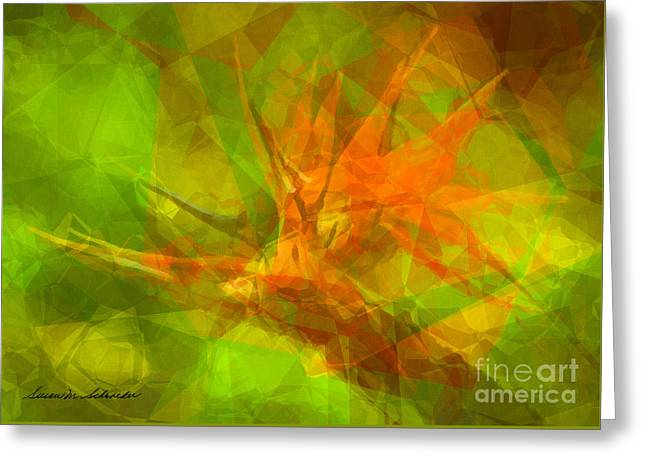 Bird Of Paradise Greeting Card by Susan Schroeder