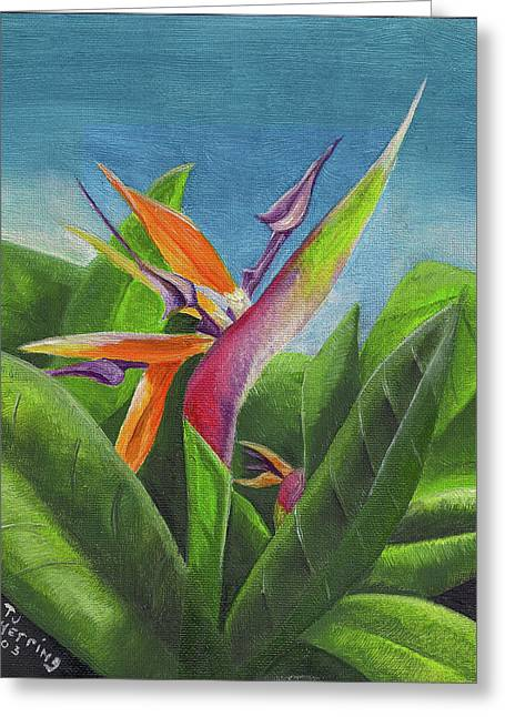 Greeting Card featuring the painting Hawaiian Bird Of Paradise by Thomas J Herring