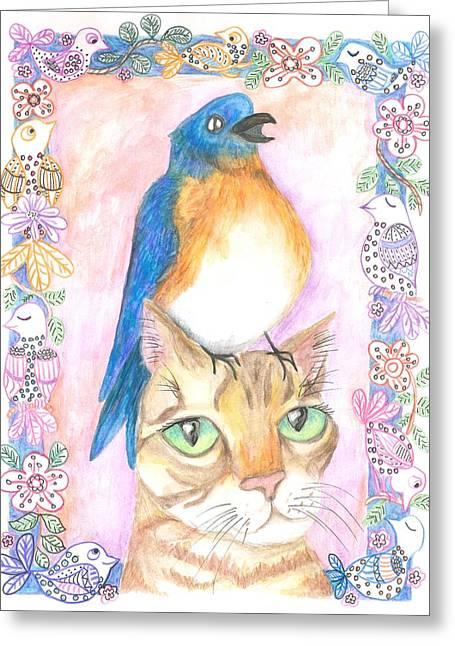 Bird On A Cat's Head Greeting Card