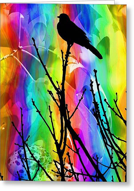 Greeting Card featuring the photograph Bird On A Stick by Elizabeth Budd