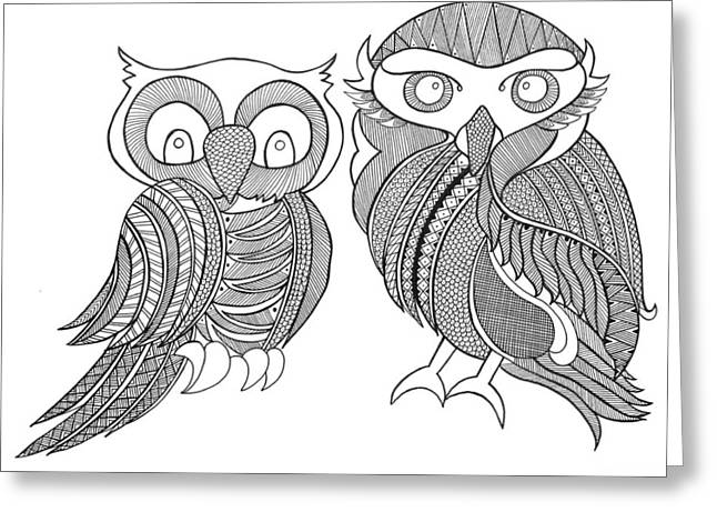 Bird Owls Greeting Card