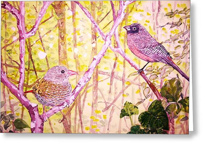 Bird Pair Greeting Card by Linda Vaughon