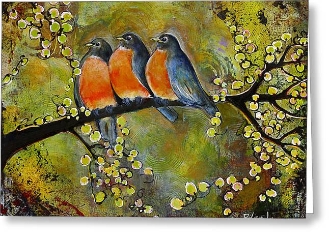 Three Little Robin Birds Greeting Card by Blenda Studio
