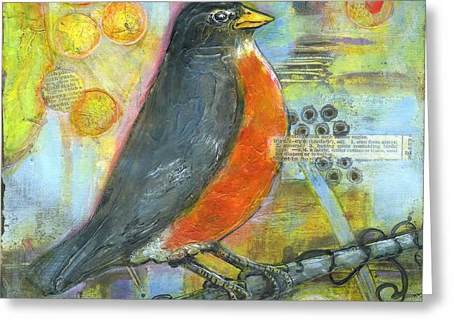 Bird Print Robin Art Greeting Card by Blenda Studio
