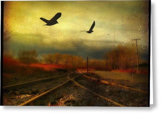 Country Bird Rail Greeting Card