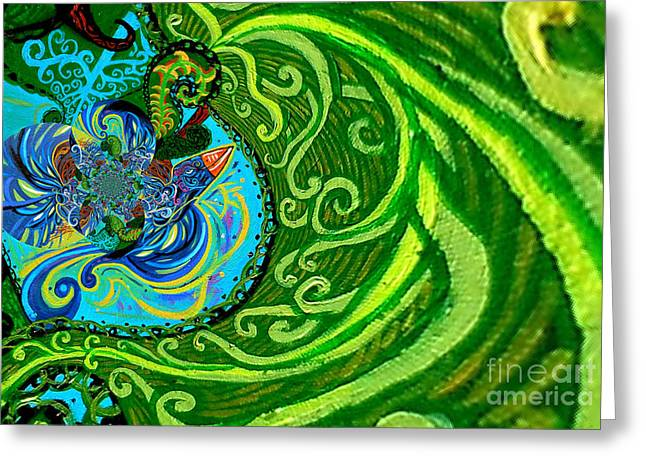 Bird Song Swirl Greeting Card by Genevieve Esson