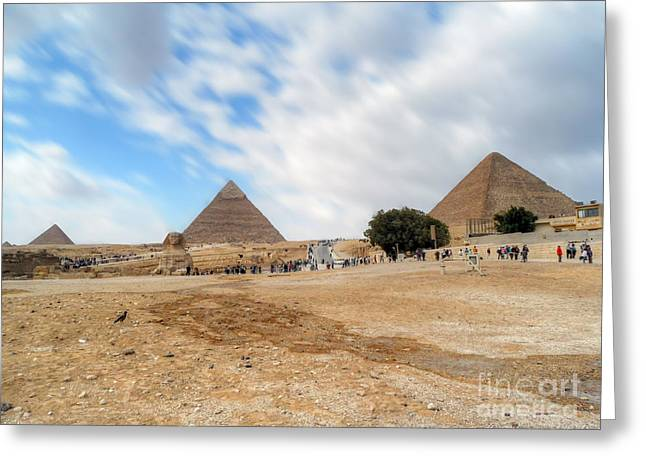 Bird Sphinx And Pyramids Greeting Card