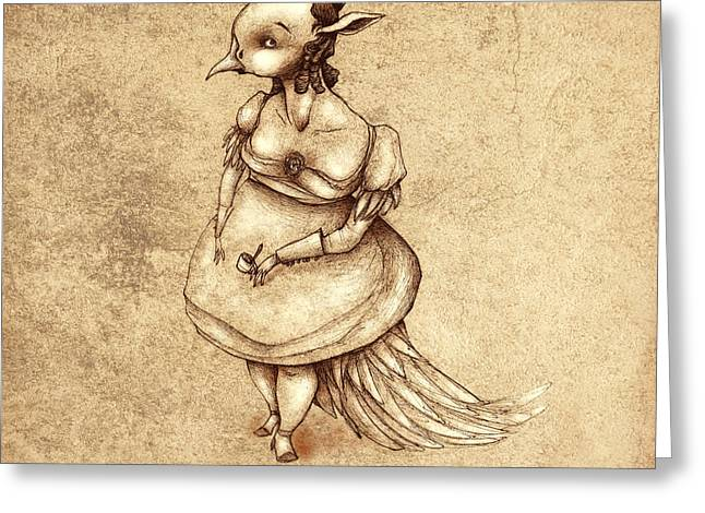 Bird Woman Greeting Card by Autogiro Illustration