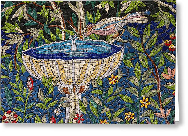 Birdbath Mosaic Greeting Card