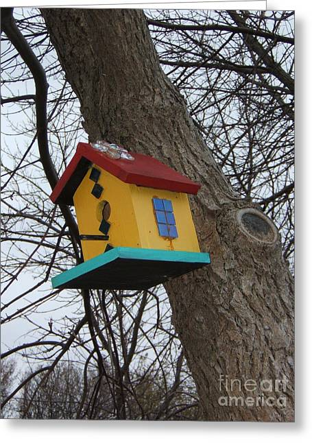 Birdhouse Of Color Greeting Card by Margaret McDermott