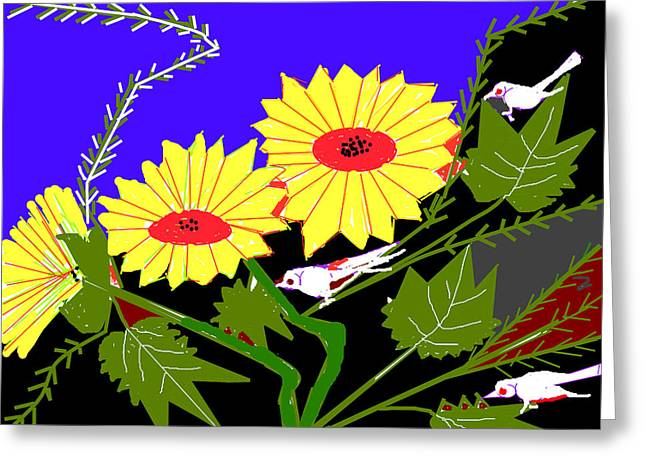 Birds And Leaves Greeting Card by Anand Swaroop Manchiraju