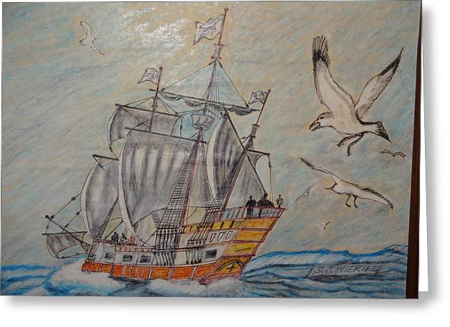 Birds At Sea Greeting Card by Stanley Wiertel