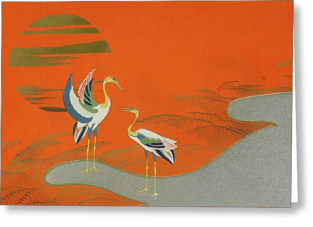 Birds At Sunset On The Lake Greeting Card by Kamisaka Sekka