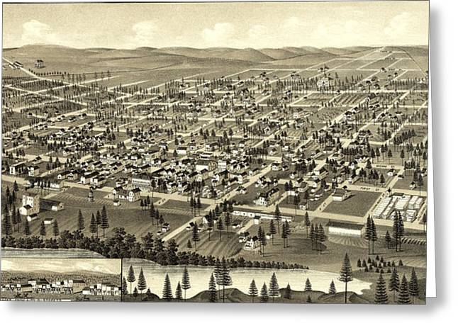Birds Eye View Of Cheney, Wash. Ter Greeting Card
