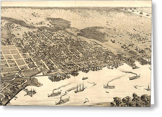 Birds Eye View Of Jacksonville Greeting Card by Litz Collection